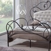 Rachel Scrolling Iron Metal Bed Frame with Tufted Headboard