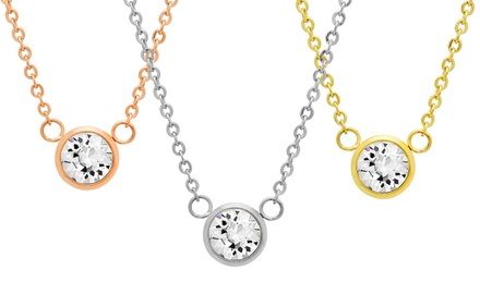 Swarovski Element Necklace in Stainless Steel, 18K Gold Plated Stainless Steel, or 18K Rose Gold Plated Stainless Steel