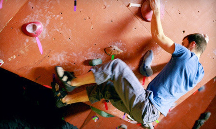 Inside Moves Indoor Rock Climbing - Byron Center: First-Time Climbing Package with Lesson and Gear Rental for One or Two at Inside Moves Indoor Rock Climbing (Half Off)