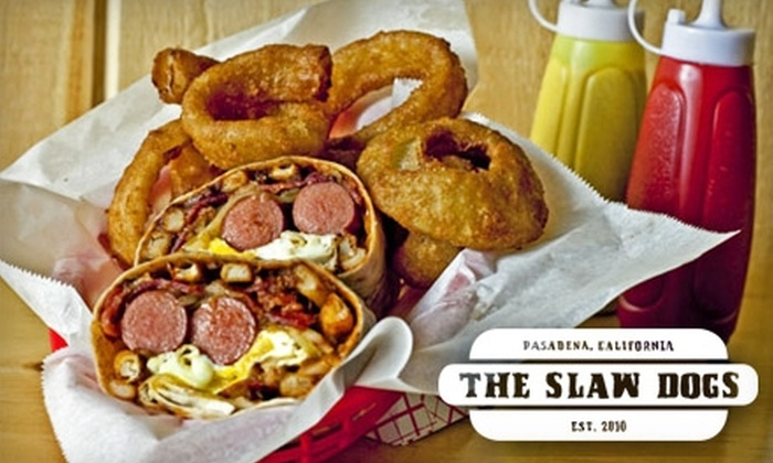 The Slaw Dogs - East Central: $5 for $10 Worth of Gourmet Franks and Drinks at The Slaw Dogs in Pasadena