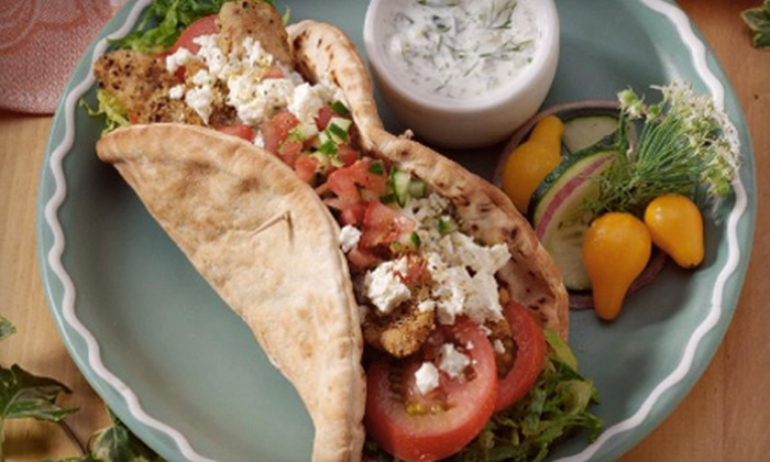 Café Delphi - Multiple Locations: Greek Meal with Appetizer, Entree, and Drink for Two or $7 for $14 Worth of Mediterranean Fare at Cafe Delphi
