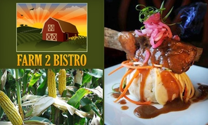 Farm 2 Bistro - Multiple Locations: $15 for $30 Worth of Fresh, Sustainable Food and Drink at Farm 2 Bistro