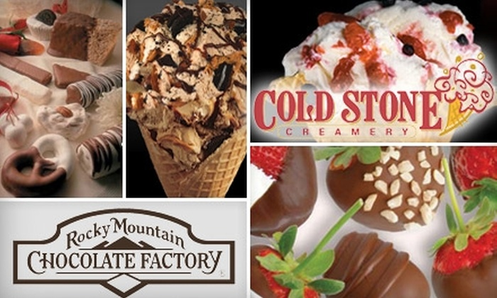 Cold Stone Creamery and The Rocky Mountain Chocolate Factory - Multiple Locations: $5 for $10 Worth of Ice Cream at Cold Stone Creamery and Chocolate from The Rocky Mountain Chocolate Factory
