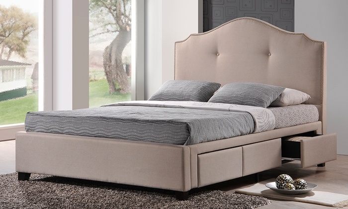 Armeena Upholstered Platform Bed with Storage Drawers & Upholstered Bed with Storage | Groupon Goods
