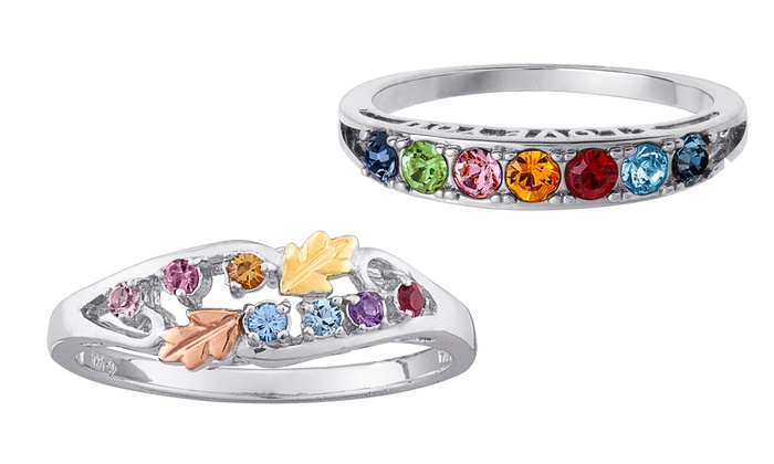 Limogès Jewelry: Personalized I Love You or Tri-Color Family Birthstone Ring from Limogés Jewelry (50% Off)