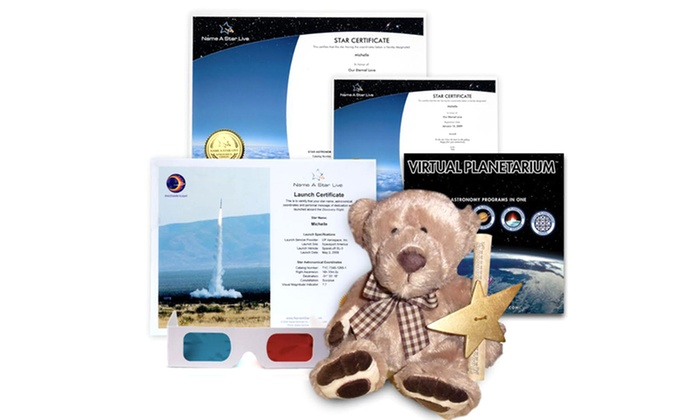 Name A Star Live: Name A Star Live Gift Set with Optional Star Bear and Virtual Planetarium Software Package (Up to 52% Off)