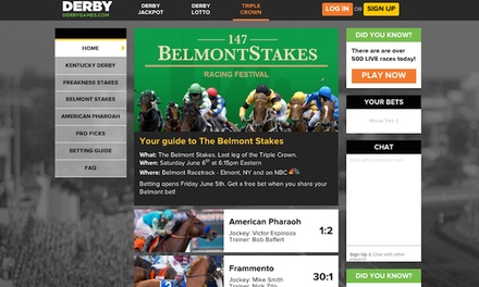 $15 for $30 of Wagering Credit to Bet the Belmont at DerbyJackpot