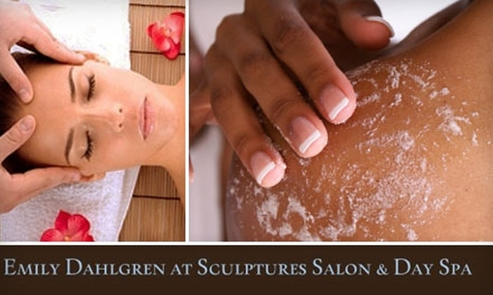 Emily at Sculptures Salon & Day Spa - Tulsa: $35 for Your Choice of Body Wrap and Massage or Body Scrub and Massage with Emily at Sculptures Salon & Day Spa ($65 Value)