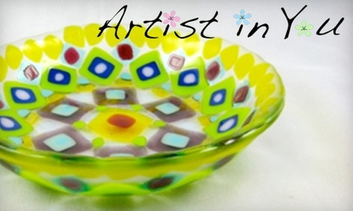 Artist in You - Barrington: $12 for a Square Plate Glass-Fusing Workshop ($25 value), $25 for a Jewelry Glass-Fusing Workshop ($50 value), or $32 for a Mommy and Me Glass-Fusing Workshop ($65 value)