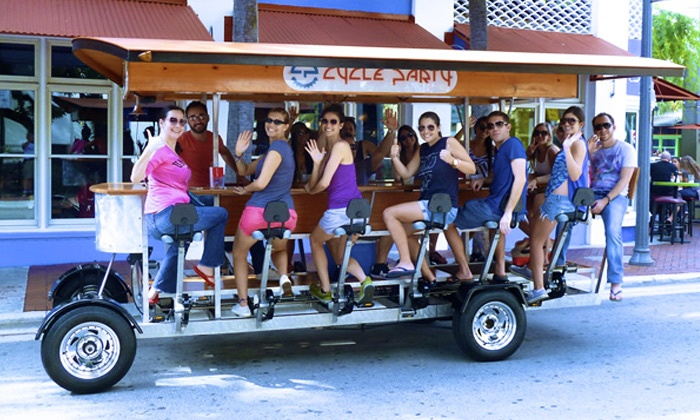 Cycle Party - Downtown West Palm Beach: Two-Hour Pub Crawl on a 15-Person Bike from Cycle Party (50% Off). Two Options Available.