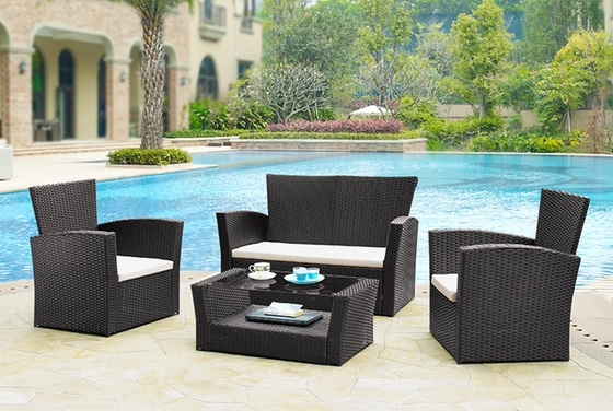 Rattan effect 4 pcs garden set groupon goods for Gardening 4 less groupon