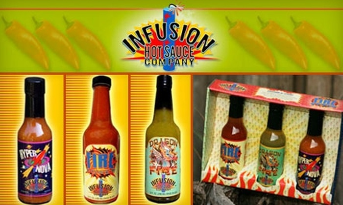 Infusion Hot Sauce Company: $14 for Your Choice of Four Bottles of Hot Sauce from Infusion Hot Sauce Company (Up to $27.96 Value)