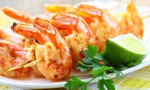 Kirr Royal: Riesengarnelen vom Grill inkl. Salat, Knoblauchbaguette und Espresso für 2-4 Pers. bei Kirr Royal (bis zu 51% sparen*)
