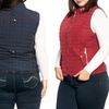 Women's Plus Size Quilted Vest with Dual Zipper Pockets