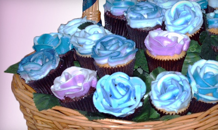 Lil' Somethin' Sweet - Superstition Springs: $15 for a Flower-Cupcake-Bouquet Gift Basket with 12 Cupcakes at Lil' Somethin' Sweet ($30 Value)