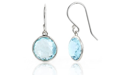 3 CTTW Genuine Blue Topaz .925 Sterling Silver Drop Earrings