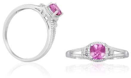 3/4 CTTW Pink Topaz and Diamond Ring in Sterling Silver
