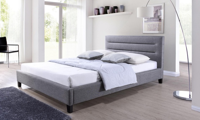 Fabric upholstered bed groupon for Beds groupon