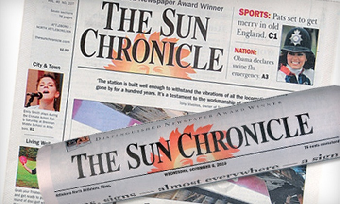 """""""Sun Chronicle"""" - Attleboro: Six-Month Sunday-Only, Six-Month Daily, or One-Year Daily Subscription to """"Sun Chronicle"""" (Up to 55% Off)"""