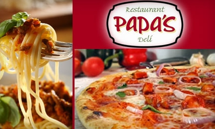 Papa's Pizza and Pasta - Minneapolis / St Paul: $15 for $30 Worth of Italian American Fare and Drinks at Papa's Restaurant and Deli