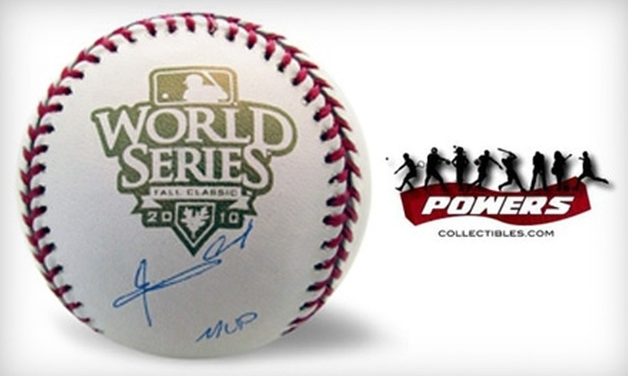 Powers Collectibles: $139 for One 2010 World Series MVP Edgar Renteria–Autographed Baseball, Including Shipping, from Powers Collectibles