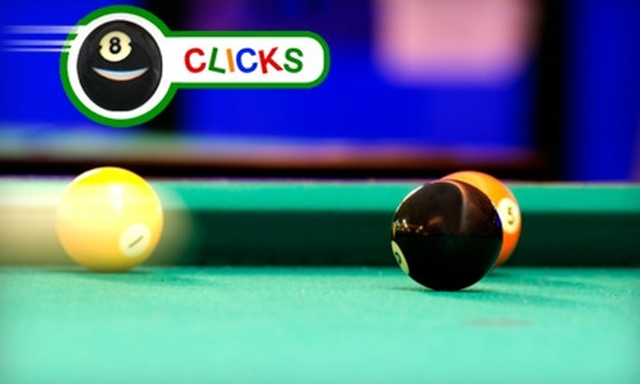 Clicks Billiards - El Paso: $15 for Three Hours of Billiards Plus a $15 Snack and Soft Drink Credit at Clicks Billiards (Up to $44.25 Value)