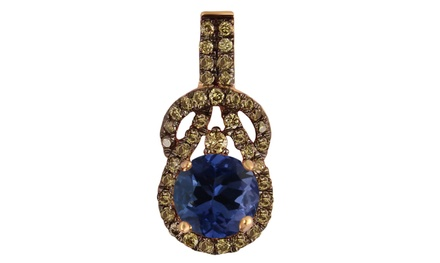 0.85 CTTW Round Tanzanite and Champagne Diamond Pendant in 10K Rose Gold