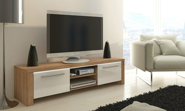 Meuble tv avec ou sans led orlando groupon shopping for Meuble tv blanc et chene