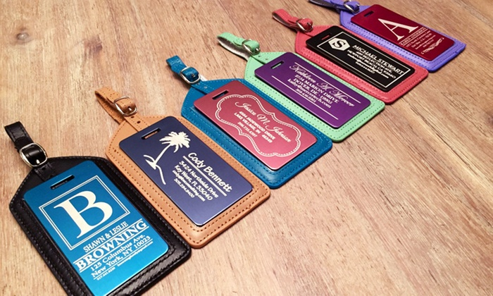 Personalized Aluminum and Leather Luggage Tags - 70% Off | Groupon