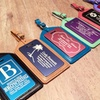 Personalized Aluminum and Leather Luggage Tags
