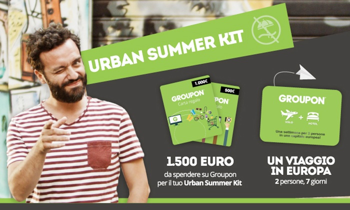 Groupon Italia: Estate in città? Groupon Urban Summer Kit ti regala un viaggio per 2 in Europa e 1500 € di credito Groupon