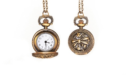 1 or 2 Pocket-Watch Necklaces, or 1 Necklace with 1 Hand-Stamped Ring from Stamp the Moment (Up to 77% Off)