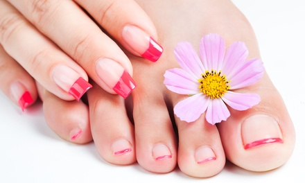 One or Three Mani-Pedis or Full Set of Short White Tip Gel Nails at Dim Sum Nails (Up to 57% Off)