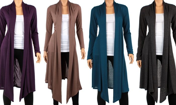Women's Long Open-Front Cardigan | Groupon