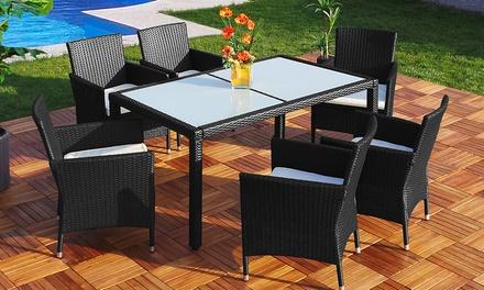 Table de salle à manger en poly rotin, 6 ou 8 personnes, coloris au choix, dès 399,99€ (jusqu'à 43% de réduction)