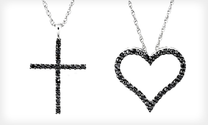 Black-Diamond Pendant Necklaces: $26.99 for Black-Diamond Heart or Cross Pendant Necklace (Up to $129 List Price)