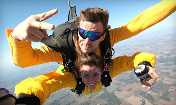 Skydive Great Lakes - Elkhart: Tandem Skydive for One or Two from Skydive Great Lakes in Goshen (Up to 51% Off). Two Options Available.