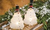LED Frosted Glass Snowman Set: LED Frosted Glass Snowman Set