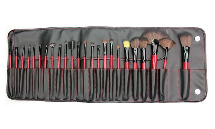 Beaute Basics 24-Piece Cosmetic Brush Set with Case: Beaute Basics 24-Piece Cosmetic Brush Set with Case