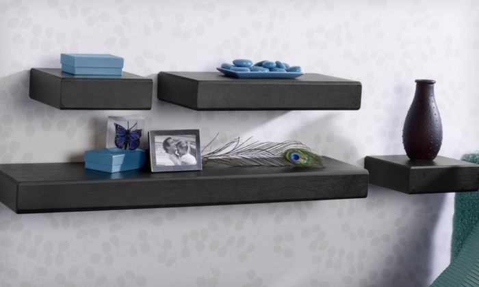 $25.99 for a Melannco 4-Piece Shelving Set in Black or Espresso. Free Shipping and Returns