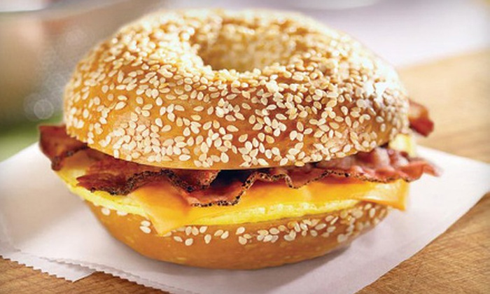 Bruegger's - Multiple Locations: $25 for a $40 Gift Card Good for Bagels, Bagel Sandwiches, Deli Food, Drinks, and More at Bruegger's