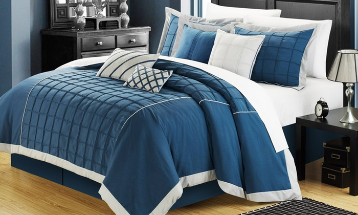 8 Piece Oversized Pintuck Hotel Collection Comforter Set ...