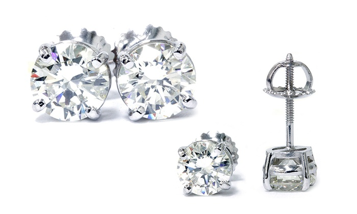 5e8f64127 1.00 CTW Diamond Stud Earrings in Platinum - By Bliss Diamond