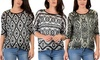 Lyss Loo Women's French-Terry 3/4 Sleeve Patterned Tunic Top: Lyss Loo Women's French-Terry 3/4 Sleeve Patterned Tunic Top