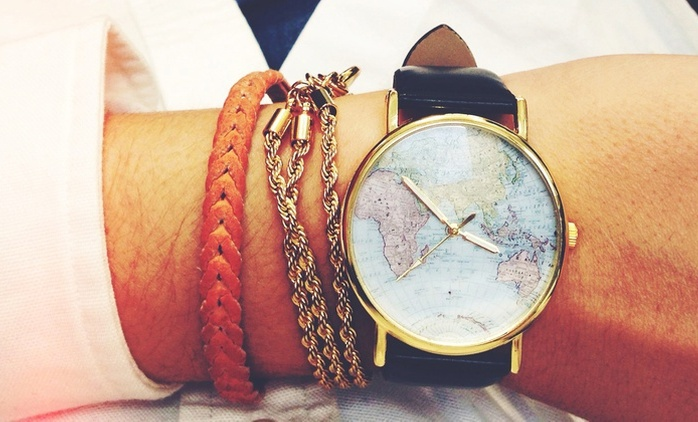 Vintage Style Print World Map Unisex Watch in Choice of Colour from AED 49 (Up to 76% Off)