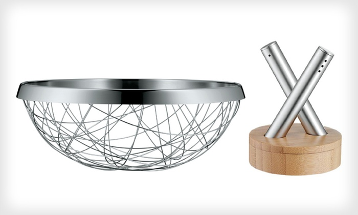 Steel Bread-Basket Set: $39 for a Tabletop Gift Set with Bread Basket and Salt and Pepper Shakers ($90 List Price). Free Shipping and Returns.