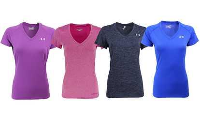 32bc39bb727 Shop Groupon Under Armour Women s UA Tech Slim-Fit V-Neck T-Shirt