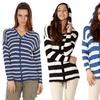 Women's Striped Button Down Hoodie