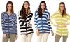 Women's Striped Button Down Hoodie: Women's Striped Button Down Hoodie