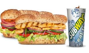 Subway: 2 oder 4 Sandwiches nach Wahl à 30 cm mit Getränken und Cookies bei SUBWAY Ludwigshafen
